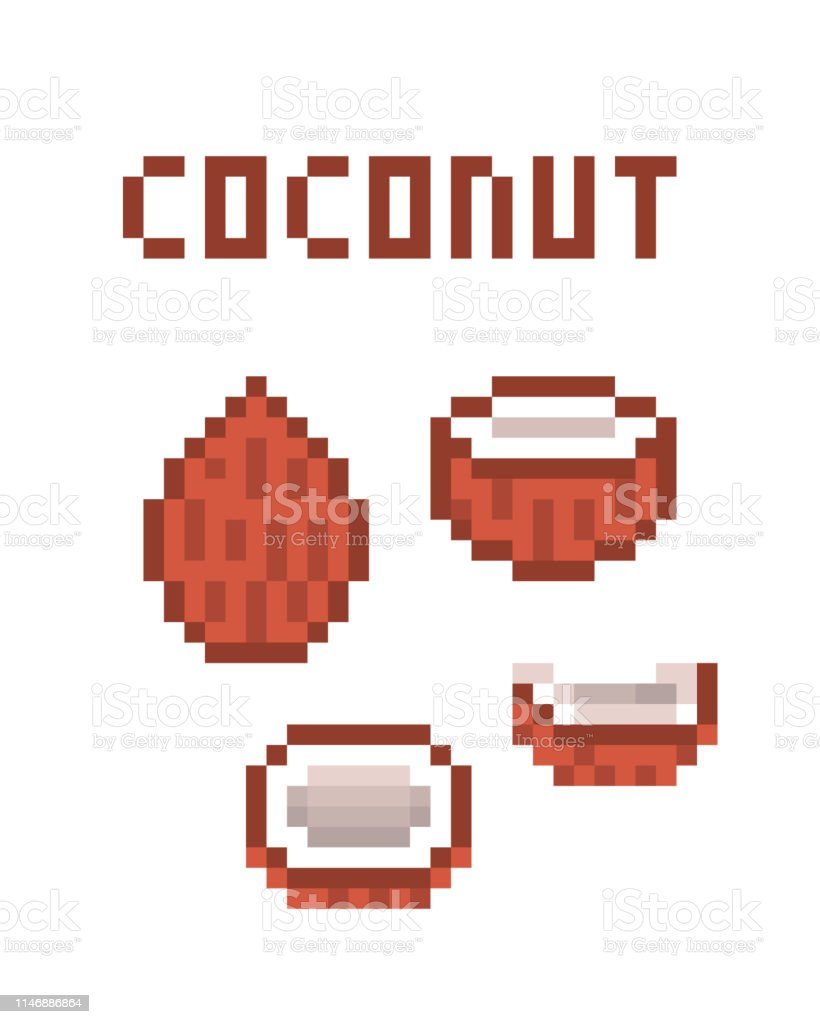 8 Bit Pixel Art Coconuts Isolated On White Background Stock