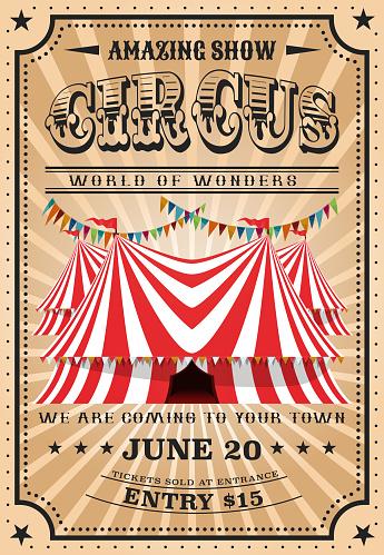 Bit top circus tent, vintage funfair show