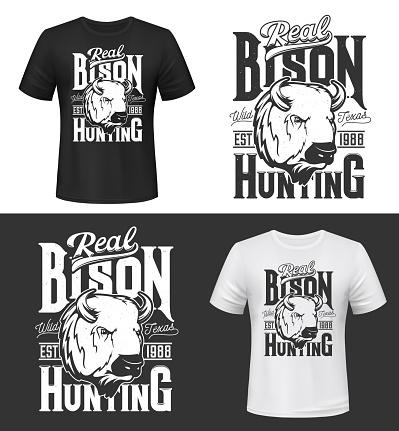 Bit trophy bison hunting retro t-shirt prints
