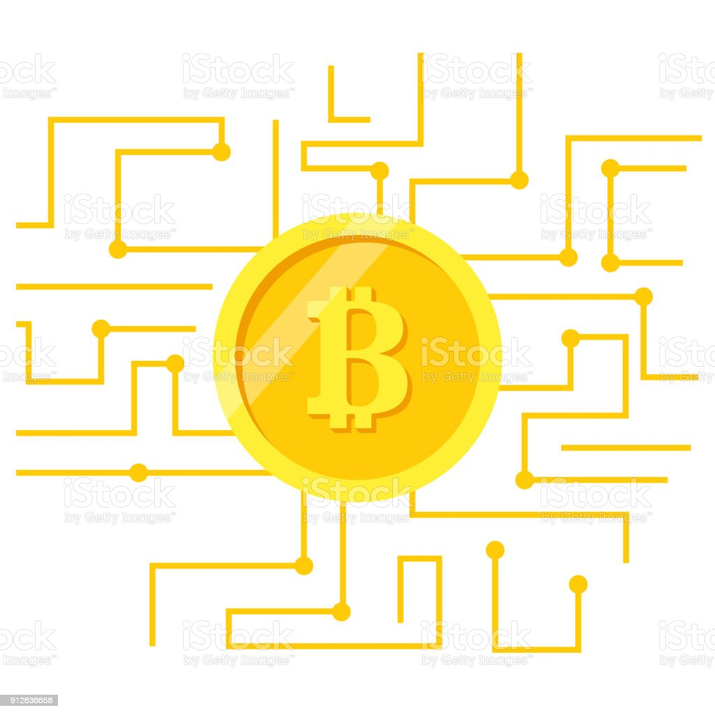Bitcoin abstract background vector art illustration