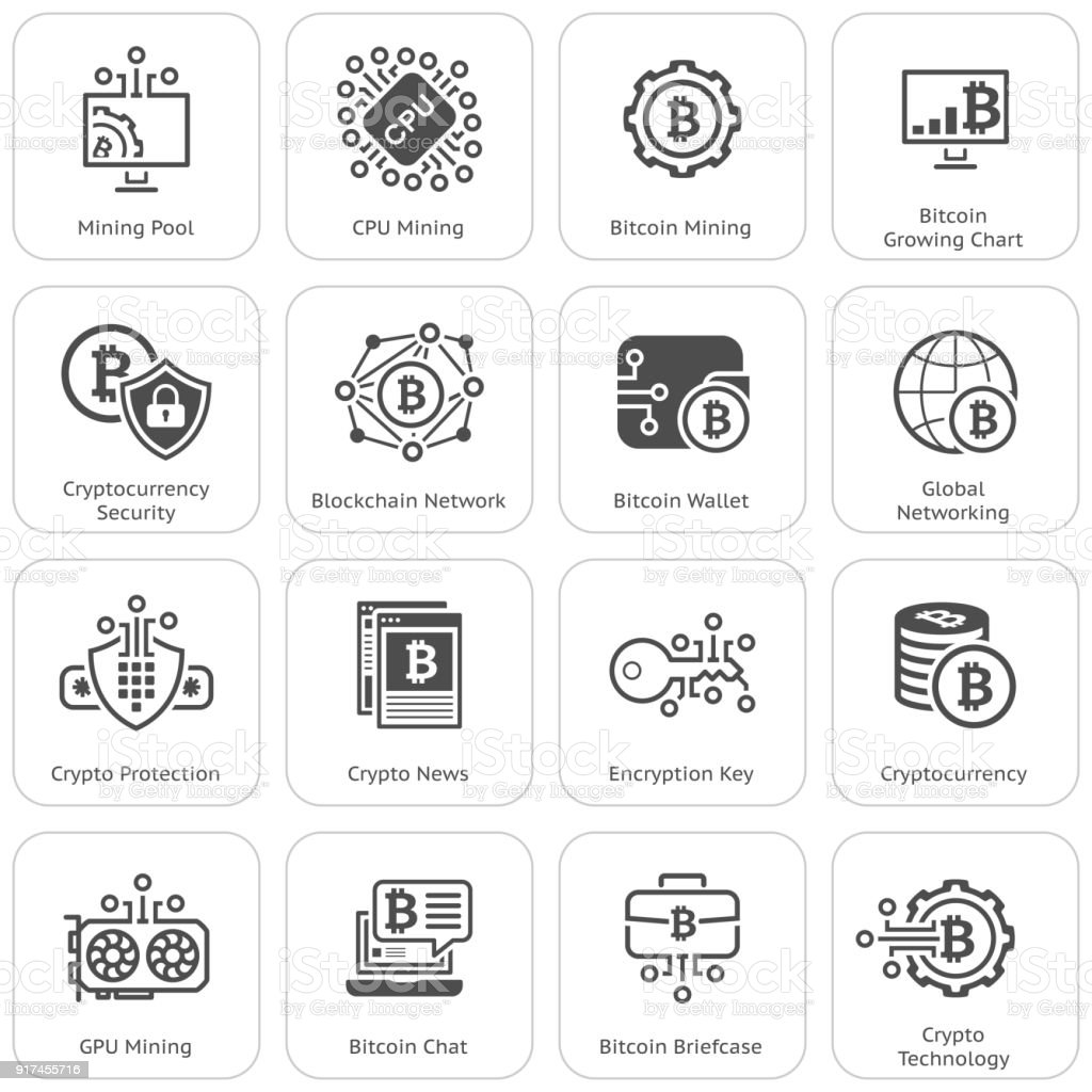 Bitcoin and Blockchain Cryptocurrency Icons vector art illustration