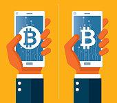 Bitcoin concept - Wireless Technology