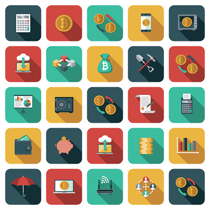 Bitcoin and Cryptocurrency Icon Set