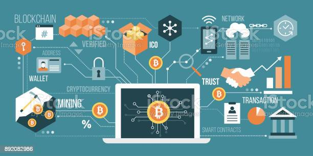 Bitcoin And Cryptocurrency Stock Illustration - Download Image Now