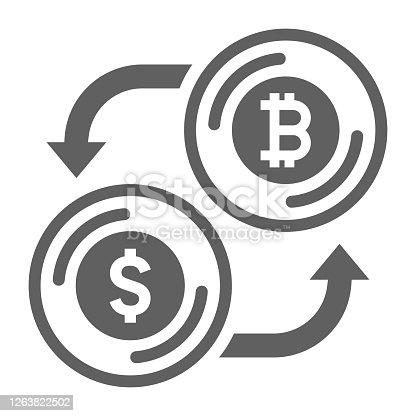 istock Bitcoin and dollar exchange gray icon 1263822502