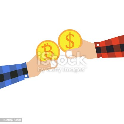 Bitcoin and dollar icon with hand holding concept vector illustration design.