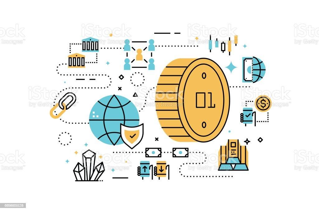Bitcoin and finance illustration vector art illustration