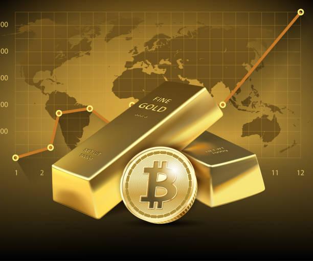 stockillustraties, clipart, cartoons en iconen met bitcoin en twee gouden balken op donkere achtergrond. - bitcoin