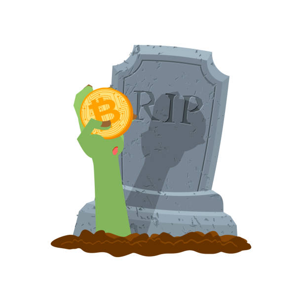 bitcoin and zombie hand. cryptocurrency dead. from last forces. fall courses - evil money stock illustrations, clip art, cartoons, & icons