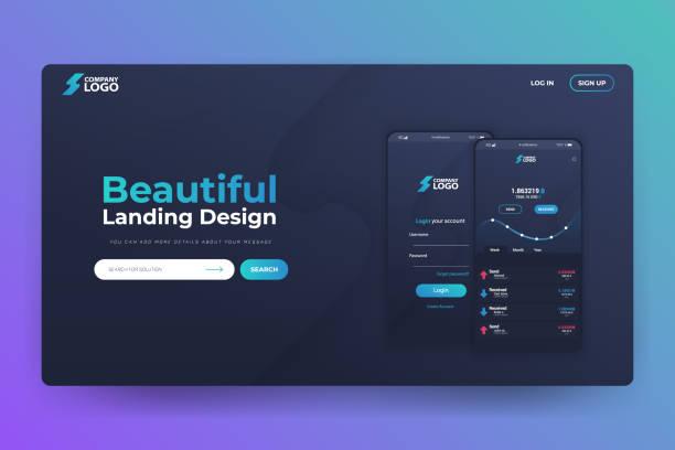 Bitcoin App Website Landing Page Vector Template Design vector art illustration