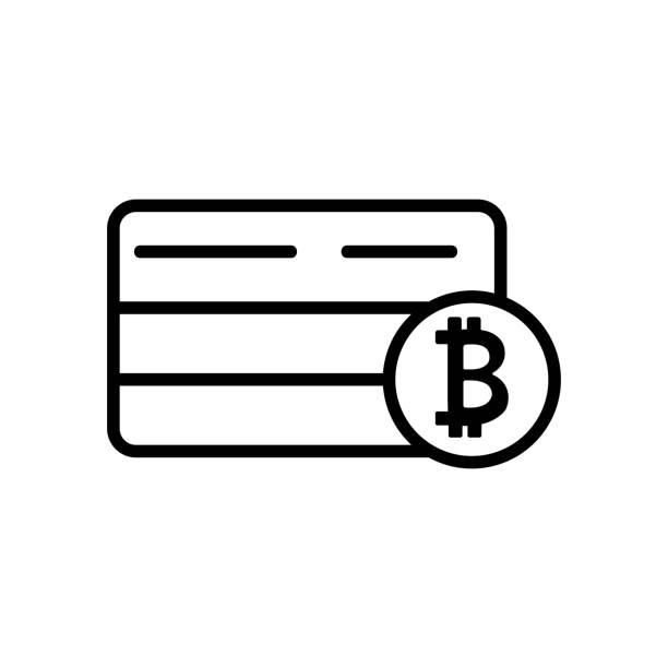 stockillustraties, clipart, cartoons en iconen met bitcoin bankkaart pictogram vector. geïsoleerde contour symbool illustratie - thaise munt
