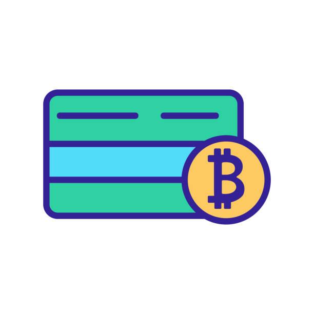 stockillustraties, clipart, cartoons en iconen met bitcoin bankkaart pictogram vector. geïsoleerde illustratie van het contoursymbool - thaise munt