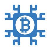 istock Bitcoin, block chain icon / blue color 1263813469
