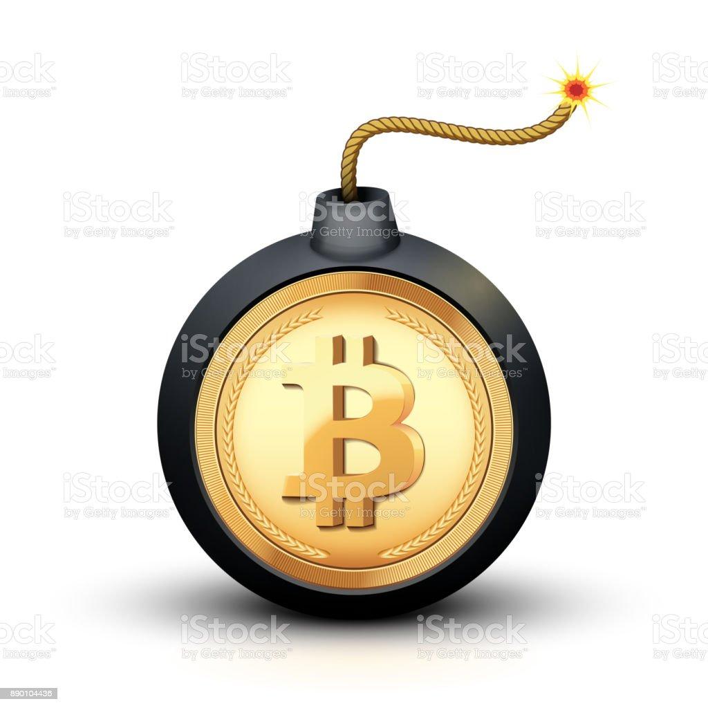 Bitcoin bomb symbol vector art illustration