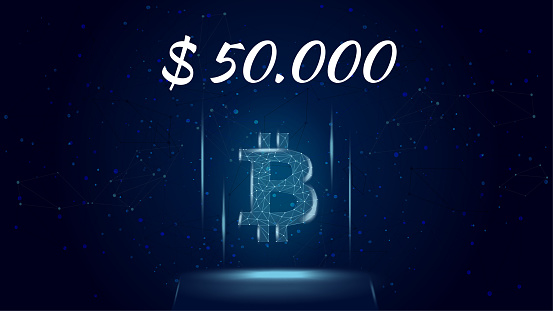 Bitcoin BTC polygonal cryptocurrency token symbol priced at 50000 dollars, coin icon on dark background. Cryptocurrency logo icon. Vector illustration for website or banner.