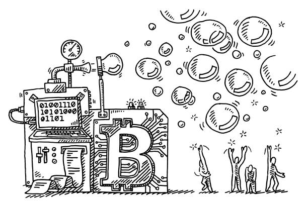 Bitcoin Bubble Machine Concept Drawing Hand-drawn vector drawing of a Bitcoin Bubble Machine Concept. Black-and-White sketch on a transparent background (.eps-file). Included files are EPS (v10) and Hi-Res JPG. cartoon character figure stock illustrations