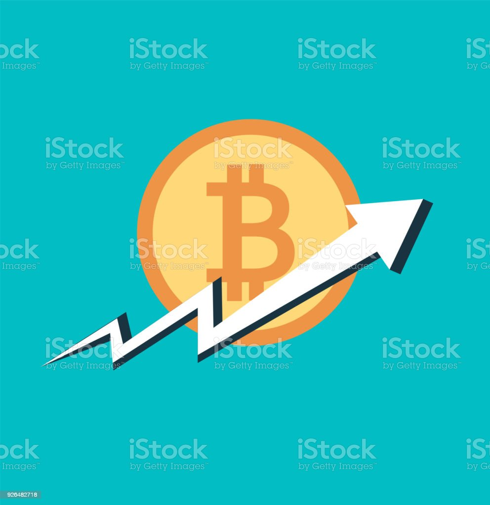 Bitcoin Businessarrow Soar To Coin On Backgroundvector Illustrator