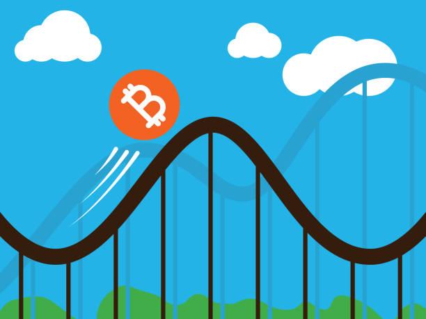 bitcoin coin on roller-coaster vector art illustration