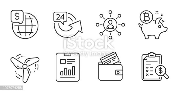 Bitcoin coin, World money and Accounting report line icons set. Debit card, Wind energy and 24 hours signs. Report document, Networking symbols. Piggy bank, Global markets, Check finance. Vector