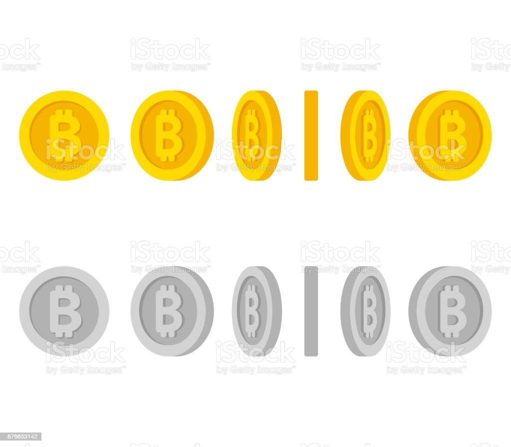 Bitcoin coins rotation set vector art illustration