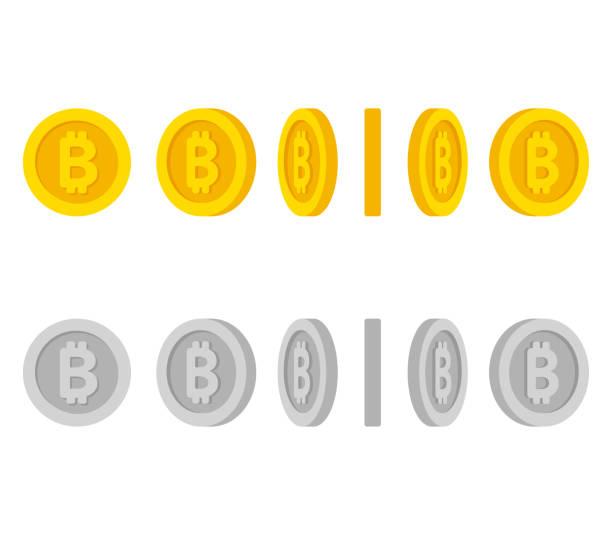 stockillustraties, clipart, cartoons en iconen met bitcoin munten rotatie set - bitcoin