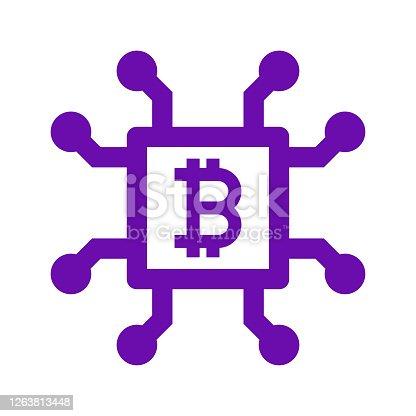 istock Bitcoin, colorful block chain icon 1263813448