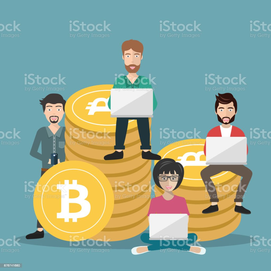 Bitcoin Concept Vector Illustration Of Young People Using