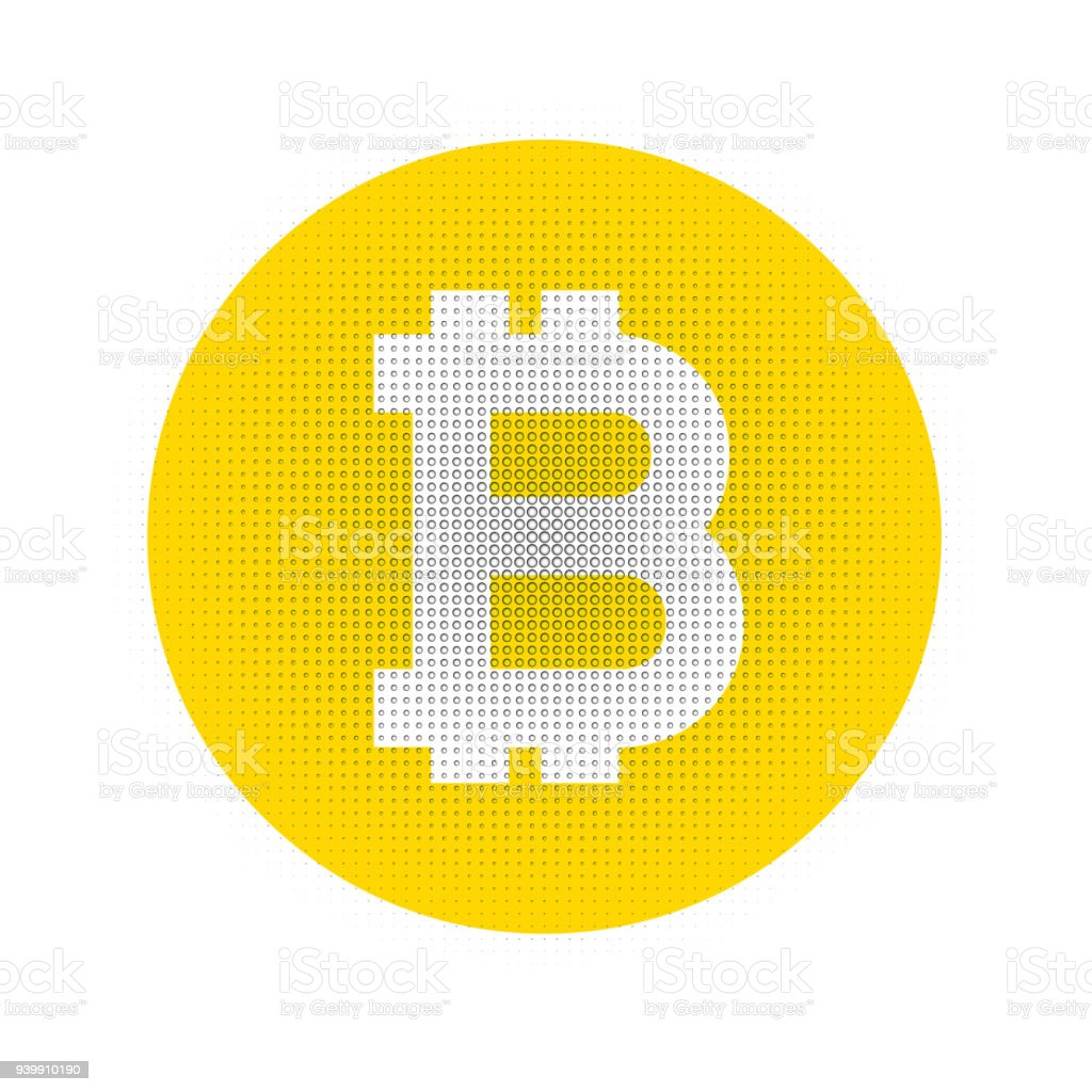 Bitcoin Crypto Currency Block Chain Flat Halftone Symbol Isolated On