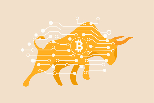 Bitcoin crypto currency bull market, cryptocurrency soaring hit new high record concept, golden bull with digital electronic graphic for new technology blockchain currency.