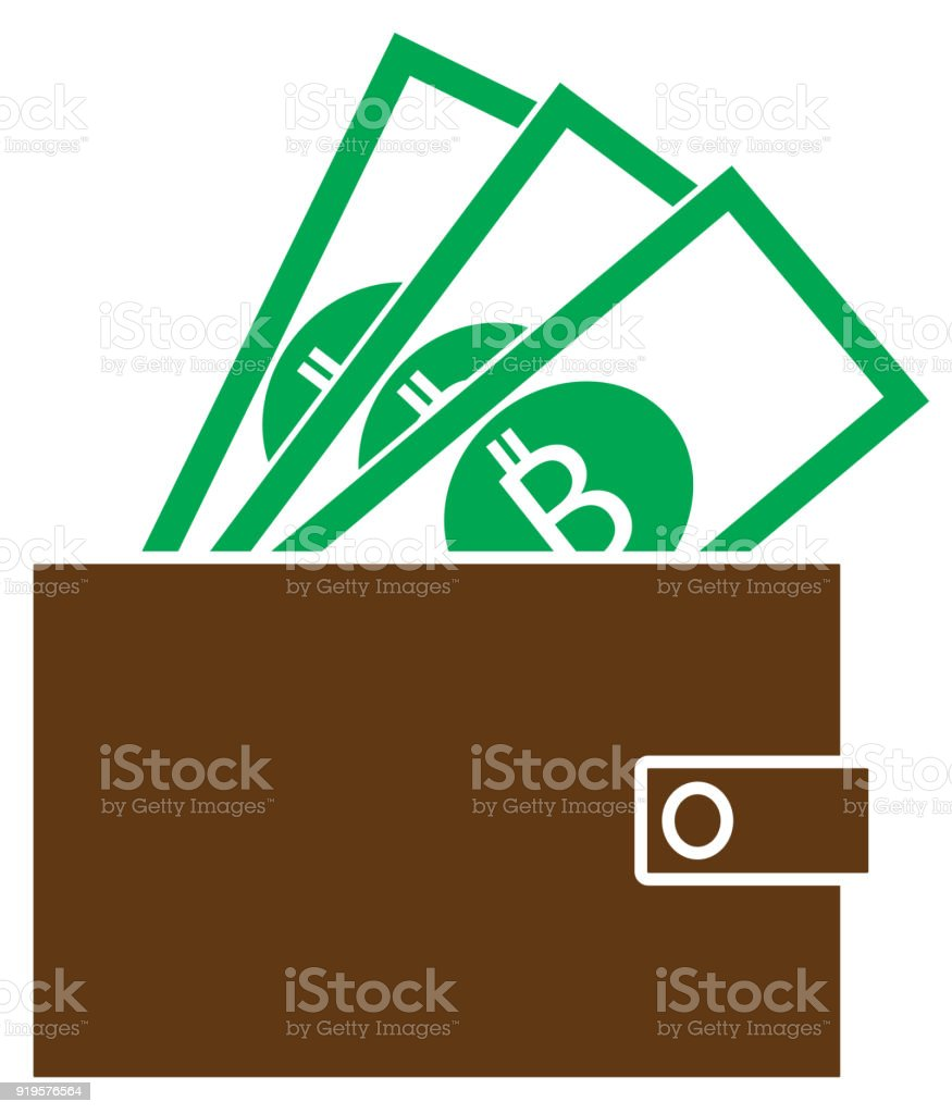 Bitcoin Crypto Currency Icon Or Vector On Notes Popping Out Of A Wallet Royalty