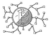 Hand-drawn vector drawing of a Bitcoin Cryptocurrency Block Network. Black-and-White sketch on a transparent background (.eps-file). Included files are EPS (v10) and Hi-Res JPG.