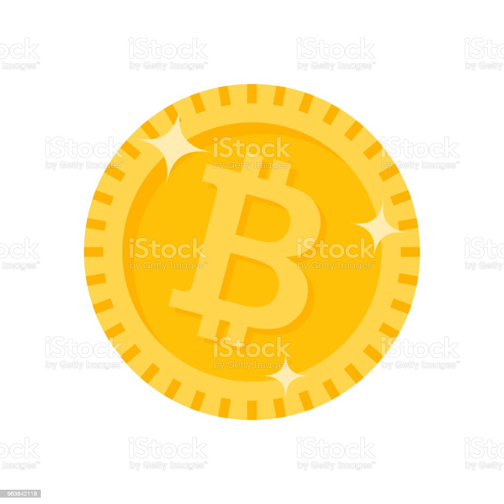 Bitcoin cryptocurrency coin icon. Vector illustration. - Royalty-free Banking stock vector