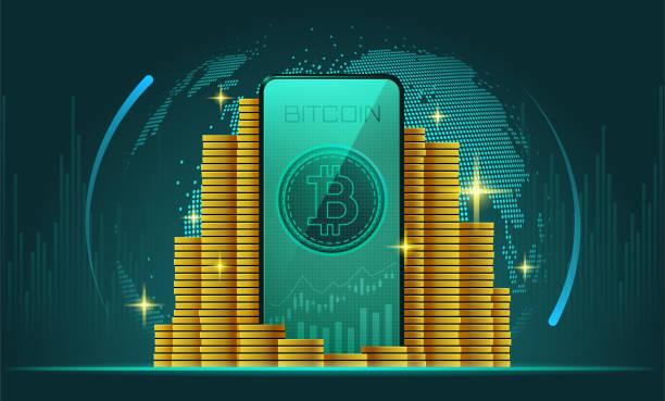 Bitcoin Kryptowährung Münzen auf dem Smartphone – Vektorgrafik