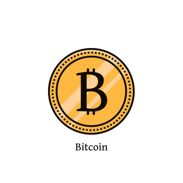 stockillustraties, clipart, cartoons en iconen met bitcoin cryptocurrency platte kleur lijn pictogram. vectorillustratie van gouden munt beetje munt op geïsoleerde achtergrond. vitrtual of digitale geldsymbool, teken, beeld, embleem, logo, onderdeel. - non profit