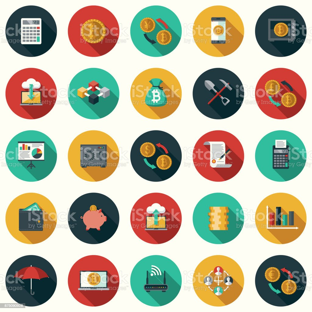 Bitcoin Cryptocurrency Flat Design Icon Set with Side Shadow vector art illustration