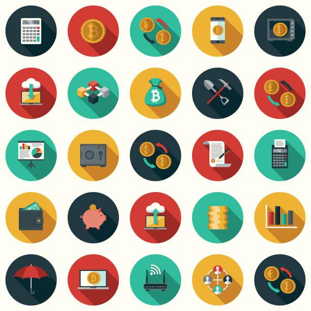 사이드 그림자 bitcoin cryptocurrency 평면 디자인 아이콘 세트 - 긴 그림자 그림자 stock illustrations