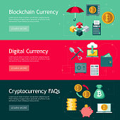 A set of flat design styled Bitcoin (Cryptocurrency) web banners. File is built in CMYK for optimal printing. Color swatches are global so it's easy to edit and change the colors.