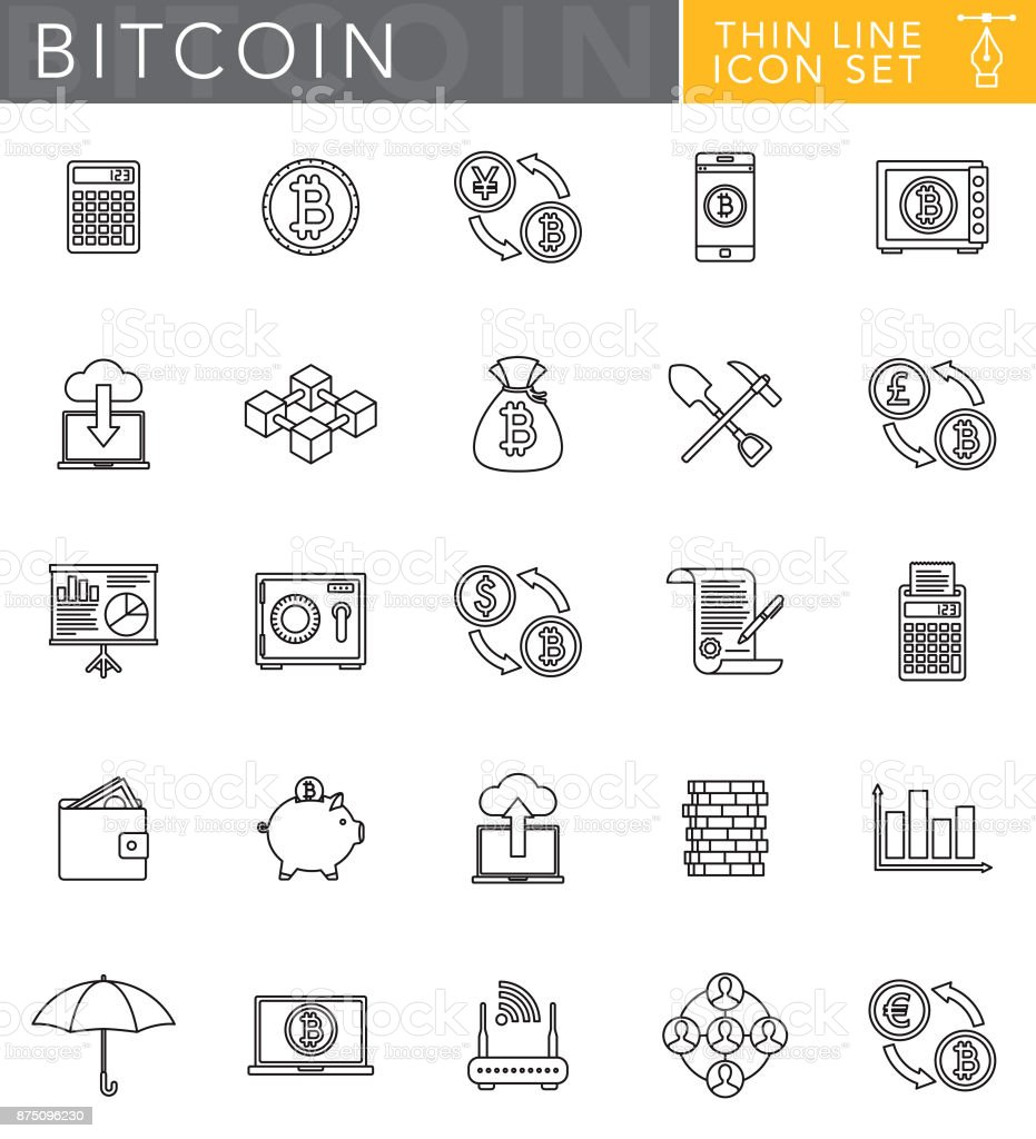 Bitcoin Cryptocurrency Thin Line Icon Set in Flat Design Style vector art illustration