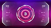Neon bitcoin cryprocurrency futuristic HUD vector illustration. Worldwide digital money technology