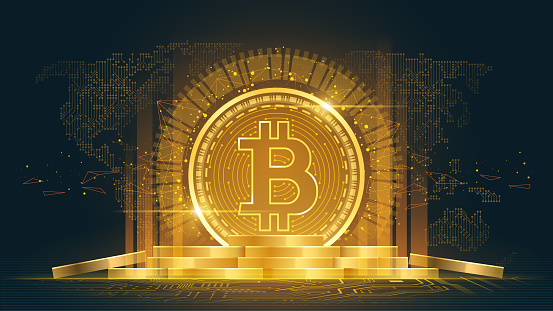Bitcoin cryptocurrency with a pile of coins