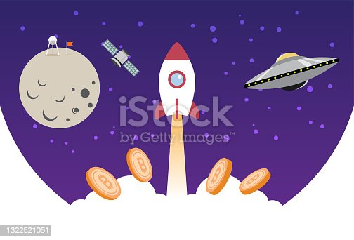 istock Bitcoin crytocurrency fly to the moon 1322521051