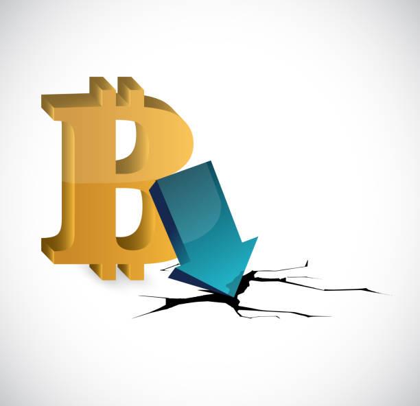 stockillustraties, clipart, cartoons en iconen met bitcoin depressie illustratie. vectorillustratie. - thaise munt