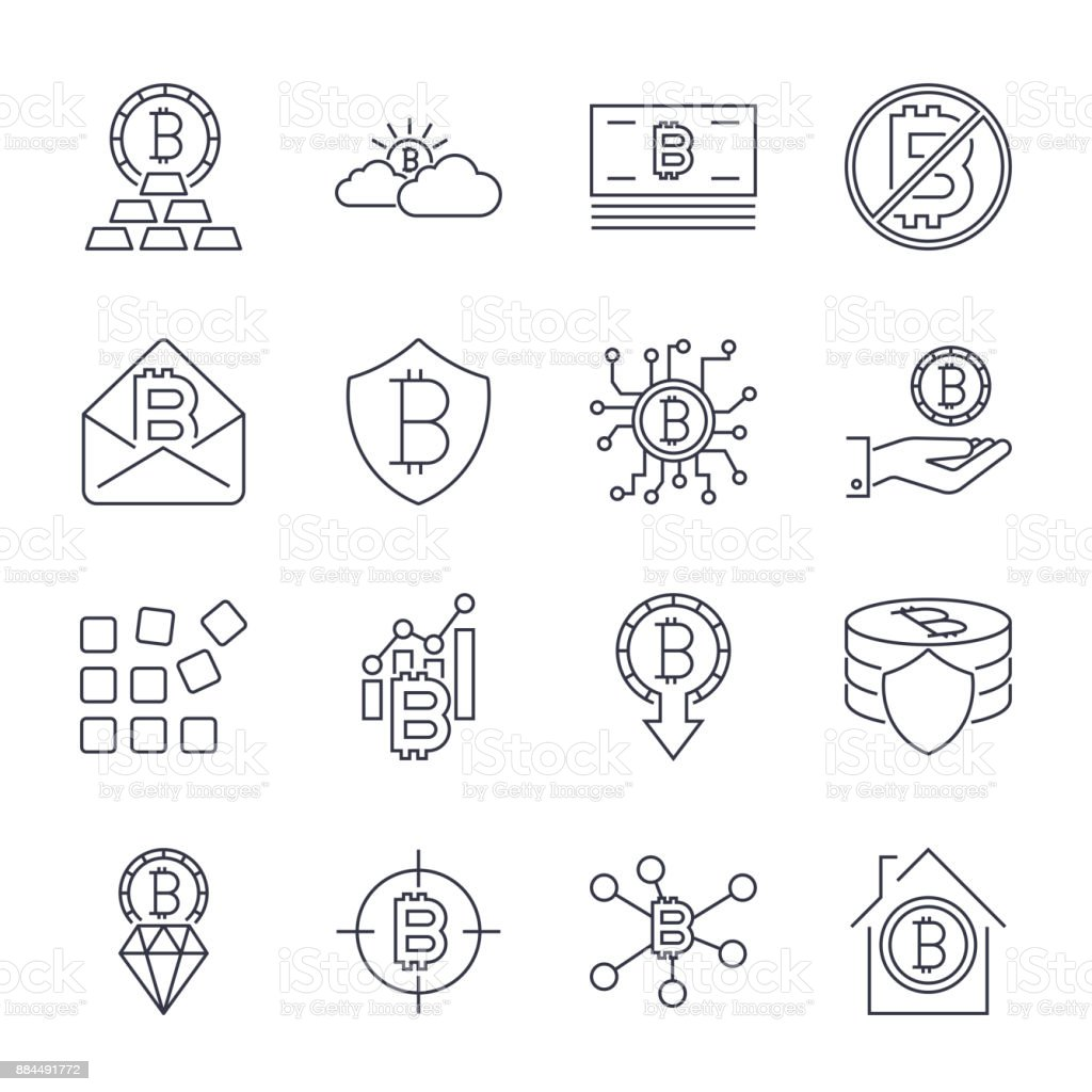 Bitcoin different icons set for internet money crypto currency symbol and coin image for using in web, apps, programs and other. Editable Stroke vector art illustration