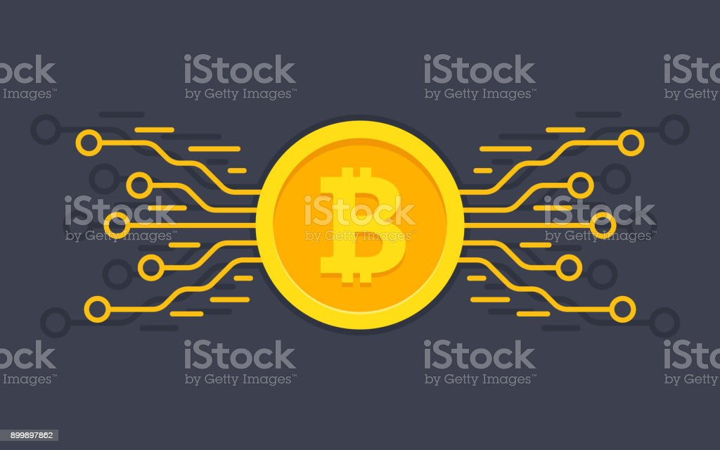 Bitcoin digital currency. Digital money concept vector art illustration