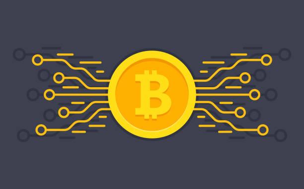 stockillustraties, clipart, cartoons en iconen met de digitale valuta bitcoin. digitale geld concept - bitcoin