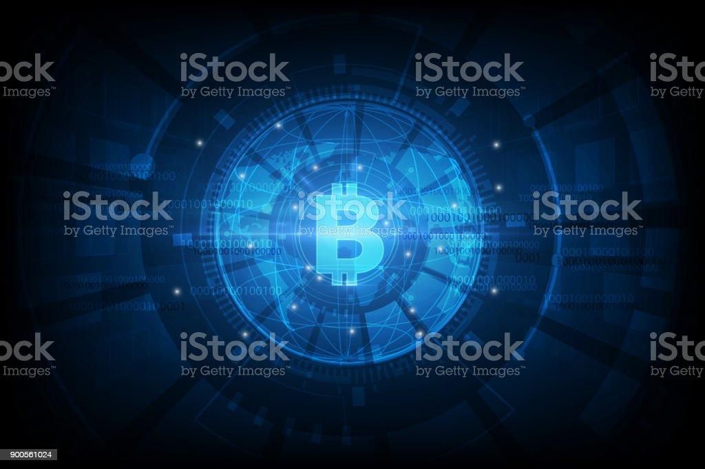 bitcoin digital currency, futuristic digital money, technology worldwide network concept, vector illustration vector art illustration