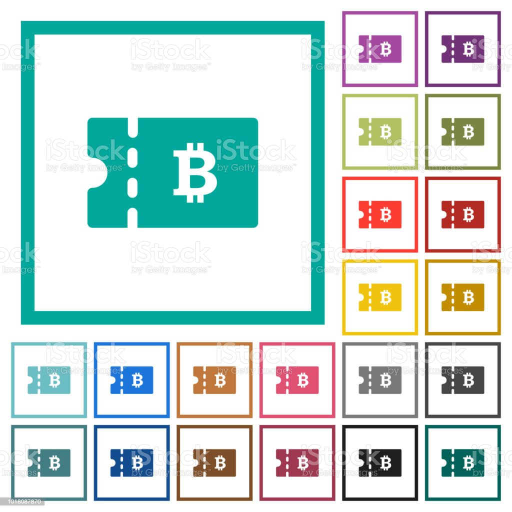 Bitcoin Discount Coupon Flat Color Icons With Quadrant Frames Stock ...