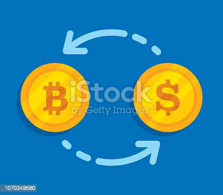 Vector illustration of a bitcoin icon and dollar icon on gold coins with arrows pointing to each other against a blue background in flat style.