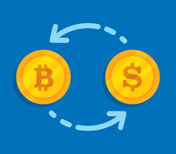 stockillustraties, clipart, cartoons en iconen met bitcoin dollar exchange - bitcoin