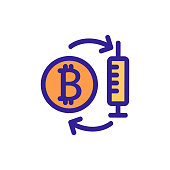 Bitcoin drugs are an icon vector. Thin line sign. Isolated contour symbol illustration